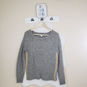 J.crew heather gray with gold panel sides sweater